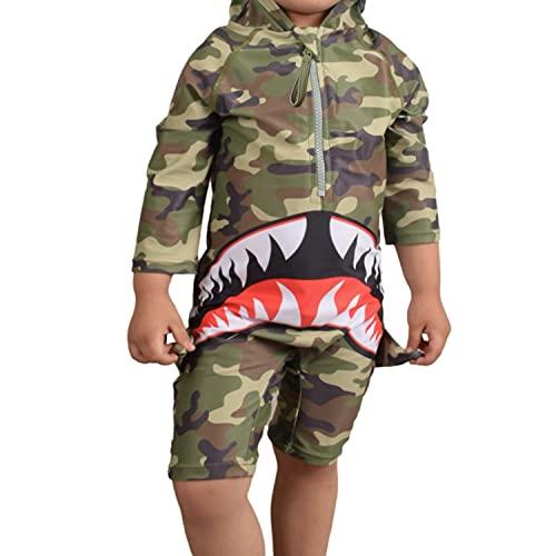 7-Mi Bañador para niña de una pieza, protección UV 50+, traje de baño con cremallera y sombrero para el sol., Tiburón, 9-12 meses