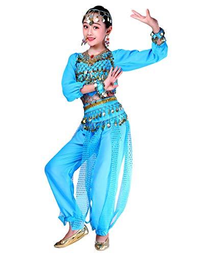 Grouptap Bollywood Indio niños niñas bharatanatyam Manga Larga Danza del Vientre 2 Piezas Azul kuchipudi niños Disfraces Disfraz (Azul, 110-130 cm)