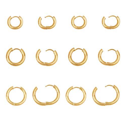 UNICRAFTALE 12 Uds 14/16/21mm Pendientes Hipoalergénicos Oro Quirúrgico de Acero Inoxidable Huggie Aro Pendiente Anillo Pendiente Earwires Componentes