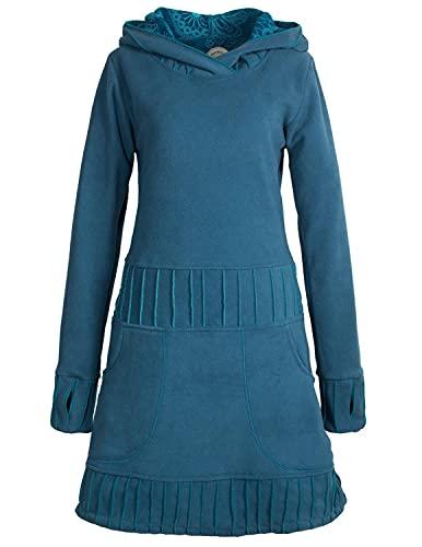 Vishes - Alternative Bekleidung - Langärmliges Patchwork Hoodie Eco Damen Fleecekleid mit Daumenlöchern türkis 36