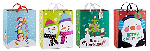 """Small Assorted Bags for Holiday Gifts, Made of Quality Paper, Measures (10"""" X 5"""" X 12"""") Set of 4"""
