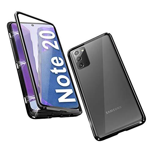 HaptiCover Hülle für Samsung Galaxy Note 20 Magnetische Handyhülle 360-Grad-Schutz Starke Magneten Aluminium Rahmen Gehärtetes Glas Stoßfest Metall Flip Hülle