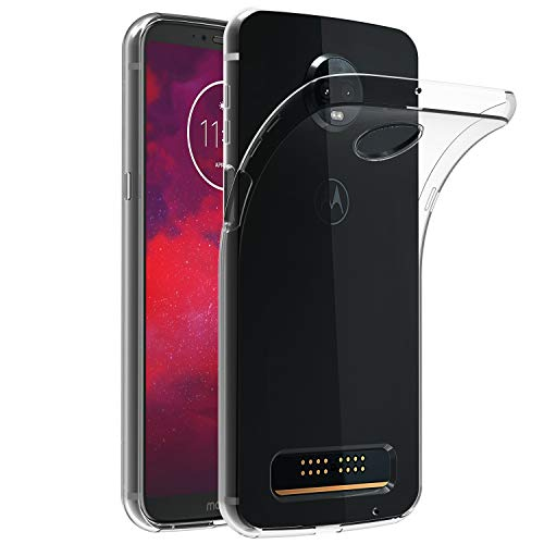 ivoler Hülle Hülle Kompatibel für Motorola Moto Z3 / Motorola Moto Z3 Play, Premium Transparent Klare Tasche Schutzhülle Weiche TPU Silikon Gel Handyhülle Schmaler Cover