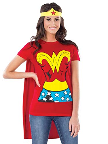 Rubies DC Comics Wonder Woman T-Shirt with Cape and Headband, Red, Large Costume