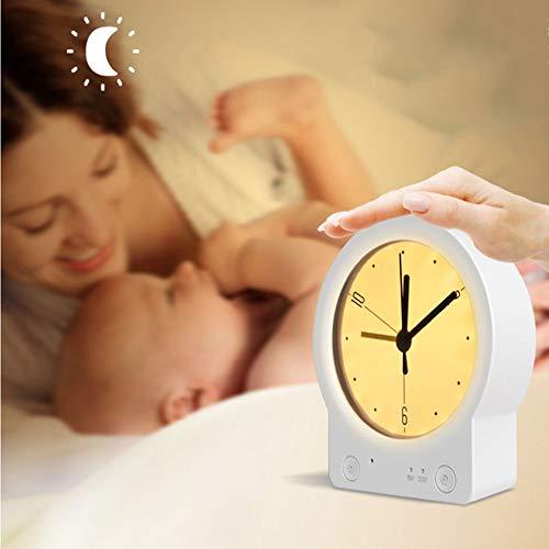 Wekker LED nachtlampje klein licht bedlampje Silent Touch dimmen USB opladen met luid alarmlampje wekker voor slaapkamer bureau kinderen senioren reis warm licht (wit)