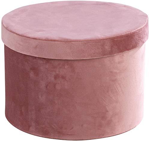 Home4You Aufbewahrungsbox Regalkorb Aufbewahrungskorb | Samt | Rosa | Mit Deckel | Ø 26 cm x H 18 cm