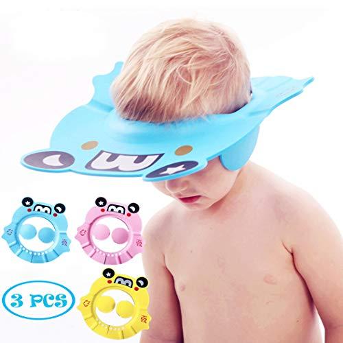 Baby Shower Cap Bathing Hat, Adjustable Shower Cap Kids, Infants Soft Protection Funny Safety Visor Cap for Toddler Children (Blue+Pink+Yellow)