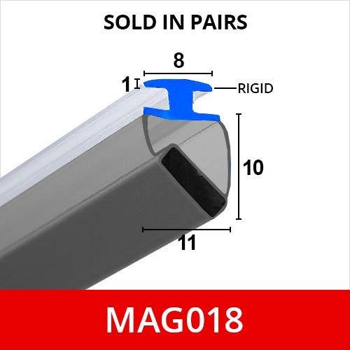Magnetische Duschdichtungen MAG018 für Rinnen, 90° Winkel, in Paaren erhältlich; weißes, flexibles, weiches, biegsames Gummi, T-Profil mit Magnet. Passt in 9-mm-Rinnen, 2 m lang.