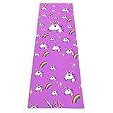 Divertido unicornio arco iris Yoga Esterilla gruesa antideslizante Estera de ejercicio con correa de transporte Estera de entrenamiento para yoga en el hogar, gimnasio, gimnasio y gimnasia