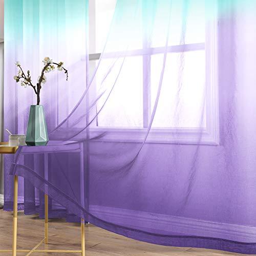 Teal Bedroom Curtains 63 Inch Length 2 Panels Set Grommet Mermaid Cartoon Pattern Semi Sheer Short Drapes and Curtains for Children's Bedroom Girls Room Princess Windows Kids Baby Nursery Purple