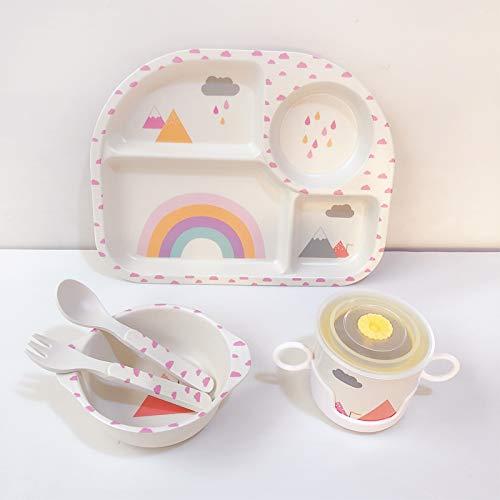 Juego de vajilla infantil con diseño de arcoíris, 5 piezas, de fibra de bambú, juego de vajilla para niños, vajilla infantil, plato de cena respetuoso con el medio ambiente, material de cubiertos