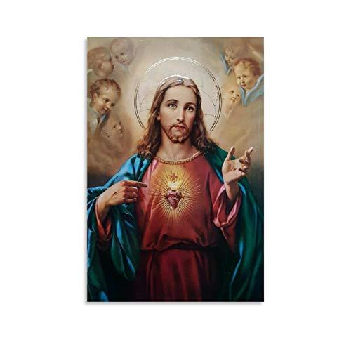 DSGFR Cuadro decorativo de la pared del Sagrado Corazón de Jesús Creencias religiosas Póster de la pared del arte de la sala de estar de 40 x 60 cm