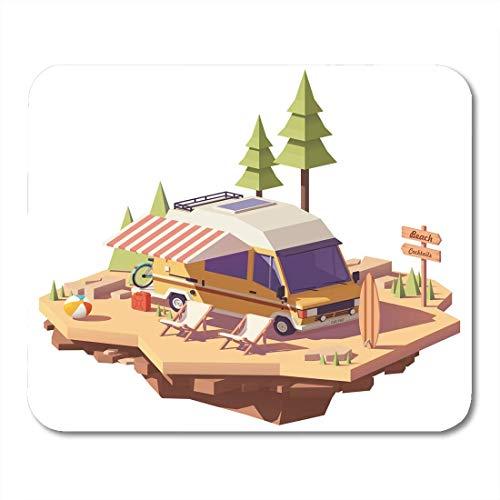 Mauspads Markisen Isometrische Classic Station Rv Wohnmobil Am Meer Camping Mit Liegestühlen Und Surfbrett Mauspad Für Notebooks, Desktop-Computer Büromaterial