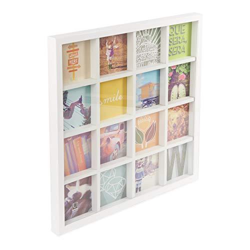 Umbra Gridart 10x10cm Bilderrahmen Collage für 16 quadratische 10x10 Fotos, Illustrationen, Kunst, Postkarten und mehr! Holz, Weiβ