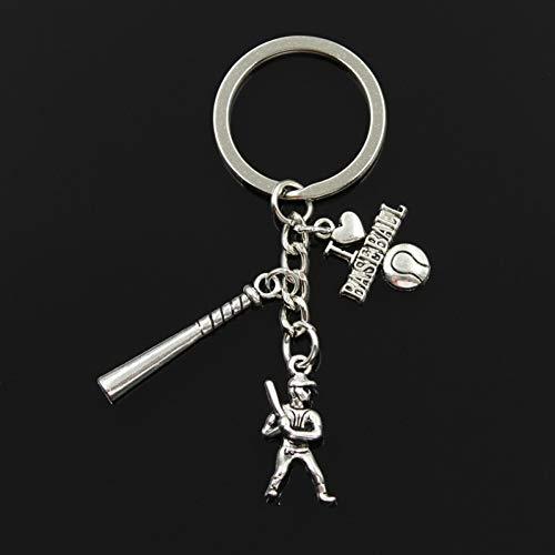 ZPZZPY Ich Liebe Baseballschläger Baseballmütze Handschuh Anhänger DIY Handgemachte Anhänger Männer Schlüsselbund Schlüsselring Souvenir Geschenk