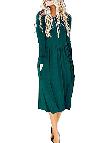 MISFAY Women's Long Sleeve Pockets Empire Waist Pleated Loose Swing Casual Flare Midi Dress