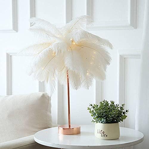 Lámpara de mesa de plumas Control remoto DIY creativo luz cálida árbol pluma pantalla dormitorio decoración blanco, grande