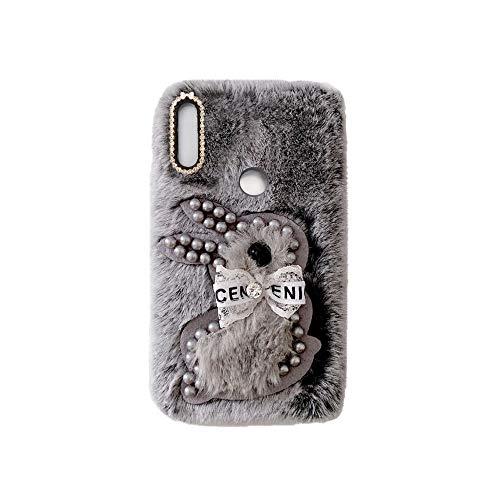 YHY Samsung A9 Pro 2019 Estuche Teléfono Móvil Estilo Lindo 3D Perla Linda Peluche De Conejo para Samsung Galaxy A9 Pro 2019 Gris Oscuro