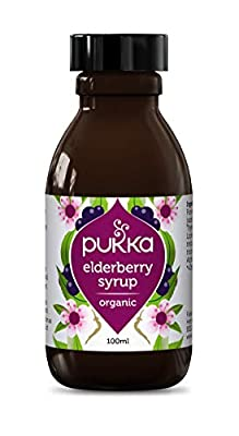 Pukka Herbs Elderberry Syrup Organic Herbal Supplement, with Manuka Honey, Ginger & Thyme, Suitable for age 2+yrs, Non-GM, Vegetarian, 100 ml Bottle