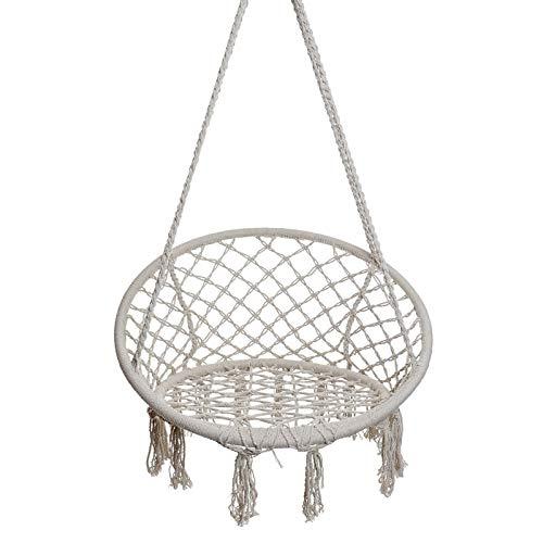 Hangstoel/hangmat van katoen, beige voor de tuin macramédesign, Boho stijl, maximaal gewicht 120 kg - huis en meer