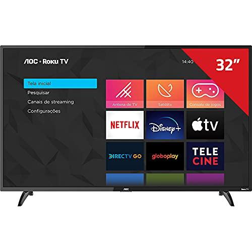 Smart TV LED 32' HD AOC ROKU TV FHD 32S5195/78G, Wi-Fi, 3 HDMI, 1 USB, Wifi, Conversor Digital