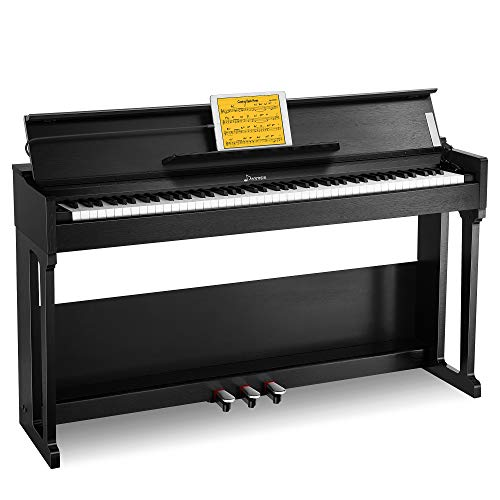 Donner DDP-90 Digital Piano, 88 Key Weighted Piano Keyboard for Beginner/Professional, Keyboard Piano W/Three Pedals, Supports U-disk Music Playing, PC/Tablet/Cell Phone Connecting, Audio In/Output