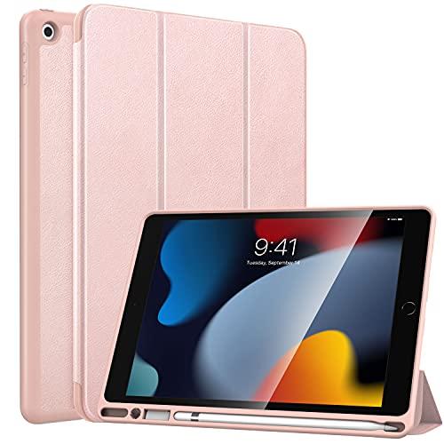 MoKo Hülle Kompatibel mit Neu iPad 9. Generation 2021/8. Gen. 2020/7. Gen. 2019 mit Apple Pencil Halter, iPad 10,2 Zoll Schutzhülle Dünne Hülle Cover mit Auto Schlaf/Aufwach, Rose Gold