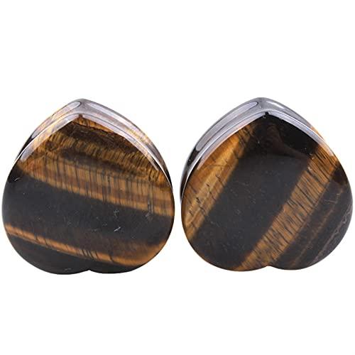 AOSUAI Dilatador de oreja con forma de corazón morado, dilatador de moda, dilatador de 6 a 25 mm (color de la piedra principal: 25 mm, color de metal: piedras de ojos de tigrea)