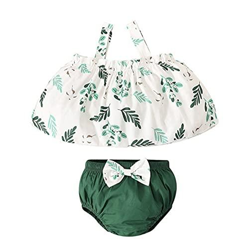 Fossen Conjunto de Trajes Florales con Tirantes y Tirantes de Verano para bebés recién Nacidos + Conjunto de Pantalones Cortos con Lazo
