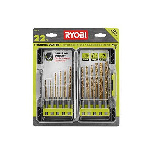 Ryobi AR2042 22 Piece Titanium Coated Drill Bit Set with 135 Degree Split Point Ends