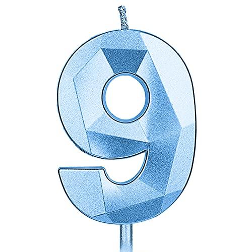 KINBOM 7cm Velas de Cumpleaños con Números Grandes, Forma Diamante 12D Velas Cumpleaños Numeros Decoración para Tartas Bodas Aniversarios Fiestas Fiestas Graduación Niños Adultos Número 9 (Azul)