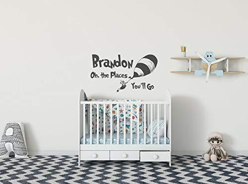 Gepersonaliseerde Dr Seuss muursticker naam Oh de plaatsen waar je gaat citeren met jongens naam en ballon kinderkamer Kids Room Decor Baby Douche Gift K245