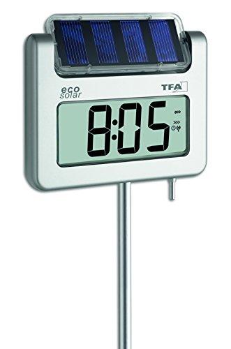 TFA Dostmann AVENUE PLUS Digitales Gartenthermometer mit Solarbeleuchtung Silber 17x4x114 cm