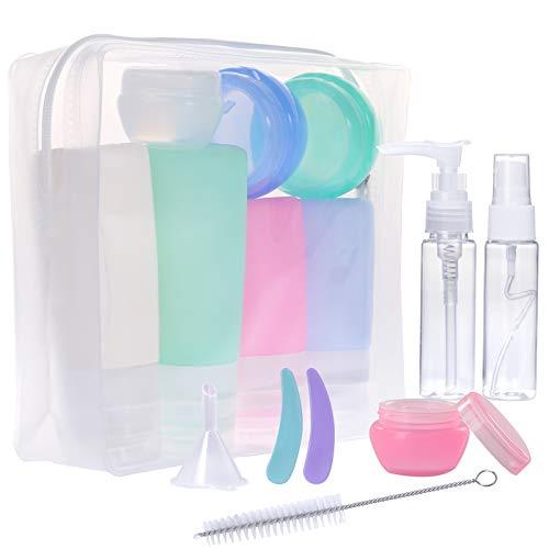 Gospire 16 Pack Silikon Reiseflaschen Set für Handgepäck Kosmetika für Flugzeug, mit Kulturbeutel Auslaufsicher Reisebehälter für Hautpflege, Lotion, Shampoo, Spülung, Duschgel, Körperpflege …
