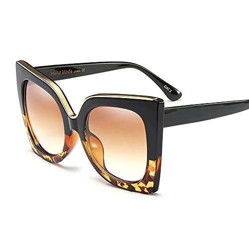 HAOMAO Gafas de Sol de Ojo de Gato de Gran tamaño con Montura metálica de diseñador de Marca para Mujer, Gafas de anteojos Uv400 Vintage 2