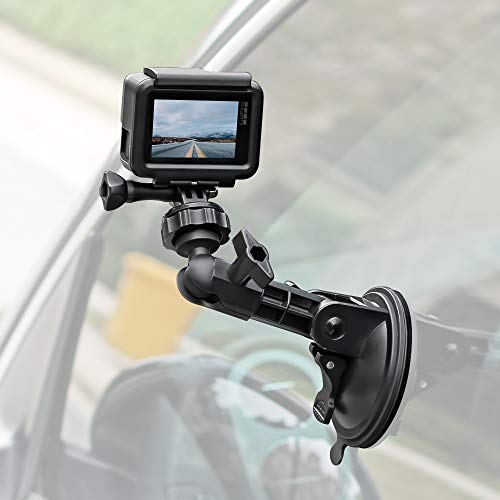 Powerful Suction Cup Camera Car Mount with Tripod Adapter and Phone Holder for GoPro Hero 10/9/8/7/6/5 Black,4 Session,4 Silver,3+,iPhone,DJI Osmo Action,Samsung Galaxy,Google Pixel and More