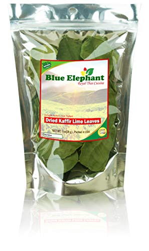 Blue Elephant : Kaffir-Lime-Leaves, Dried | Premium Gourmet Ingredient for Thai & Asian Cuisine |Rich Green Color and Extremely Aromatic | from Nature 100% (1 OZ.)
