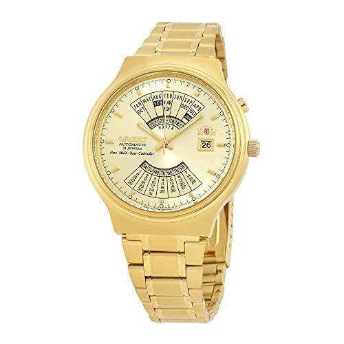 Orient Reloj automático con calendario perpetuo FEU00008CW con esfera dorada para hombre