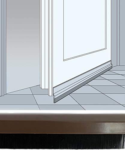 Türleiste mit Bürste selbstklebend 100 cm, braun - Türbodendichtung, Zugluftstopper