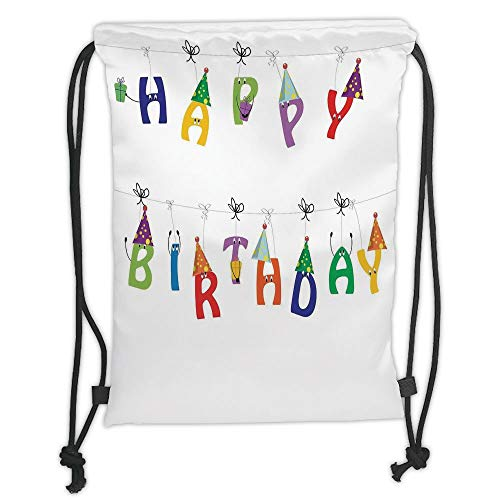 Fevthmii Drawstring Backpacks Bags,Birthday Decorations,Cute Colorful Letters on Ropes Funny Faces Pointy Party Hats for Kids, Soft Satin,5 Liter Capacity,Adjustable String Closur