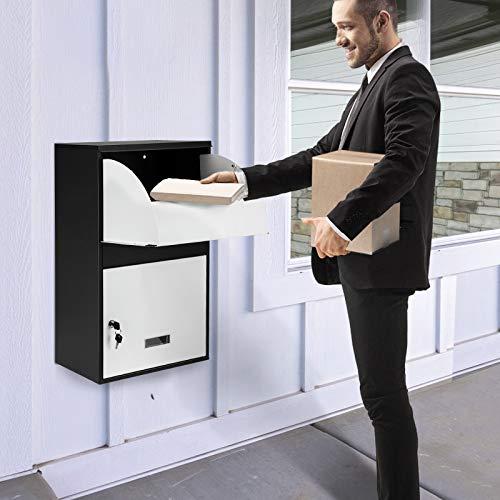 TOPQSC Buzones Correos Exterior Inteligente De pie/pared Buzón para paquetería doméstico, eguro bloqueable impermeable del buzón, Reciba la caja de entregas, adecuada para negocios desde casa