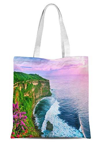 Strandtasche aus Segeltuch mit Blick auf Uluwatu Cliff Pavillon, Handwerkshandtaschen, Kindergeschenk