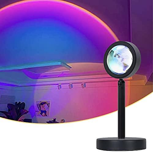Sunset Lamp, Sunset Projection Lamp,Sunset Lamp, Sunset Projector luces, USB LED lámpara de luz de 90 ° Rotación visual romántica lámpara de ambiente iluminación dormitorio decoración (arcoíris )