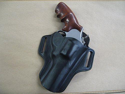 "Leather 2 Slot Molded Pancake Belt Holster for Smith & Wesson S&W N Frame 4"" Revolver CCW Black RH"
