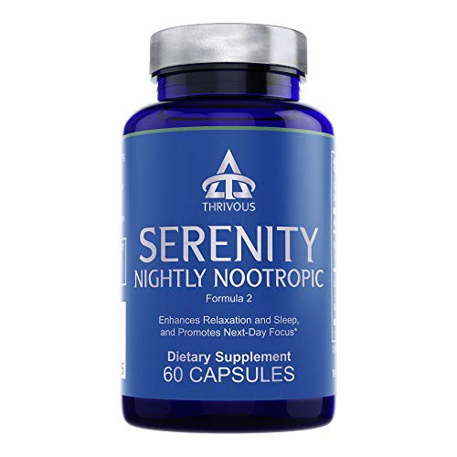 Thrivous Serenity - Natural Sleep Aid Pills - 5mg Melatonin with 200mg L-Theanine and Magnesium Glycinate - 60 Capsules - 15 to 30 High Dose Servings - Extra Strength Stress Relief Supplement