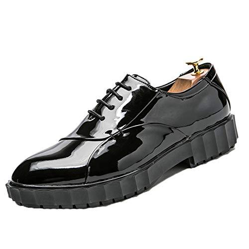 Zapatos Formales para Hombre Zapatos Oxford de Charol con Cordones de Corte bajo Zapatos Casuales de Color sólido Simple Antideslizante Transpirable