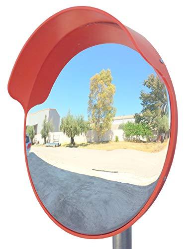 ECM-45o Specchio convesso flessibile da traffico, diametro 45 cm, per la sicurezza in strada e per i negozi, con staffa di fissaggio regolabile per palo da 48 mm (Pacco da 1)