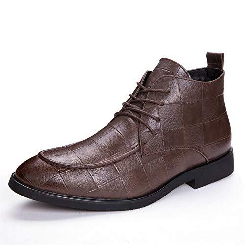 GY-HCJINxdj Los Hombres de Moda de Trabajo Bota del Tobillo Nonchalant clásico en Relieve cómodo Suela Heights Top Boot (Color : Black, Size : 43 EU)
