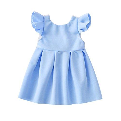 JEELINBORE Baby Mädchen Bowknot Spitze Prinzessin Party Kleid Kleinkinder Backless Skater-Kleid Urlaub Brautkleid (Blau, 80)