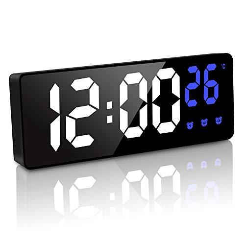 JQGO Sveglia Digitale da Comodino, Sveglia con Temperatura e LED Grande Schermo, Orologio a Specchio con 3 Allarme, Snooze/Luminosità Regolabile/Controllo Vocale, USB e Alimentato a Batteria, Nero